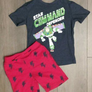 Buzz Lightyear 2 Piece Outfit Boy's Size 5t Red